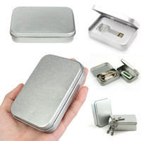 10pcs Mini Tin Box Small Empty Silver Metal Storage Box Case Organizer For Money Coin Candy