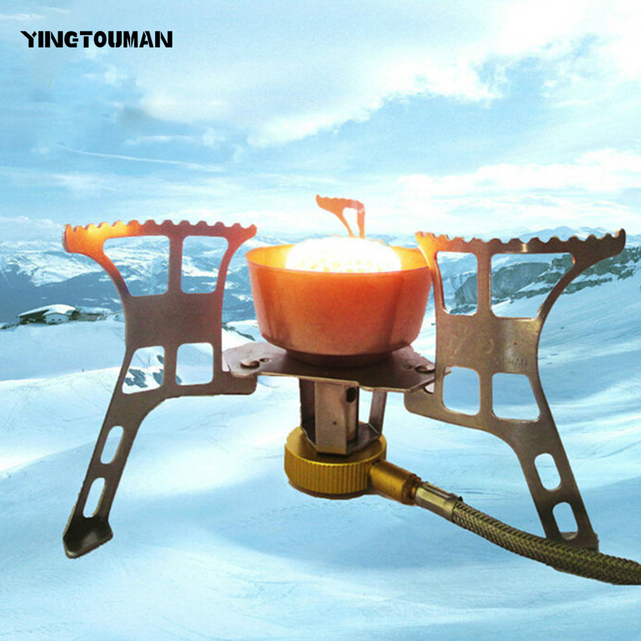 YINGTOUMAN 2900W Windproof Outdoor Cooker Burner Camping Picnic Split Type Steel Super Power Gas Stove Infrared Heating Roasting