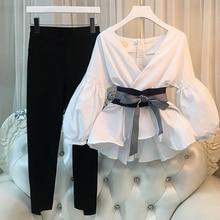 купить Plus Size 4XL 2018 Women 2 Pieces sets Women Business Suits Ladies Striped pants suit Women Tops And Split pencil pant Suit по цене 1335.19 рублей
