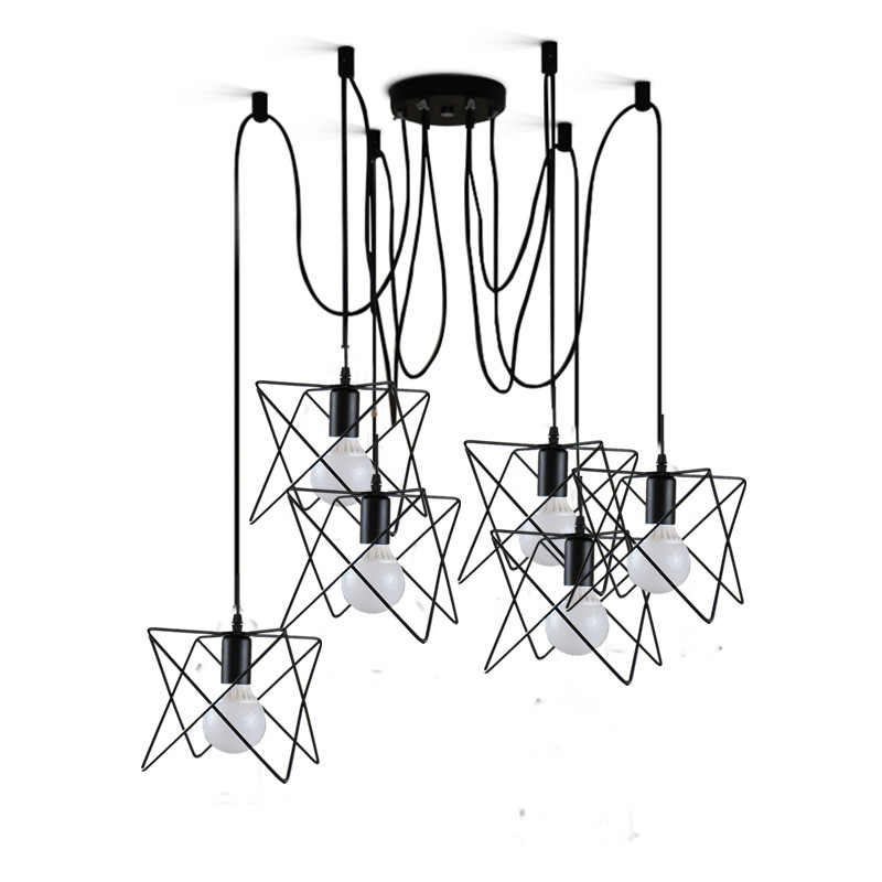 Vintage indoor lighting retro pendant lights lamps metal iron M cage lampshade lighting hanging LED light fixture led lamp creative lights fabric lampshade painting chandelier iron vintage chandeliers american style indoor lighting fixture