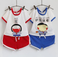 16 Summer Baby 2 Pieces Set Male Girl Personality Literature Cartoon Fan Head Portrait Short Sleeve T-Shirt Shorts Clown Title