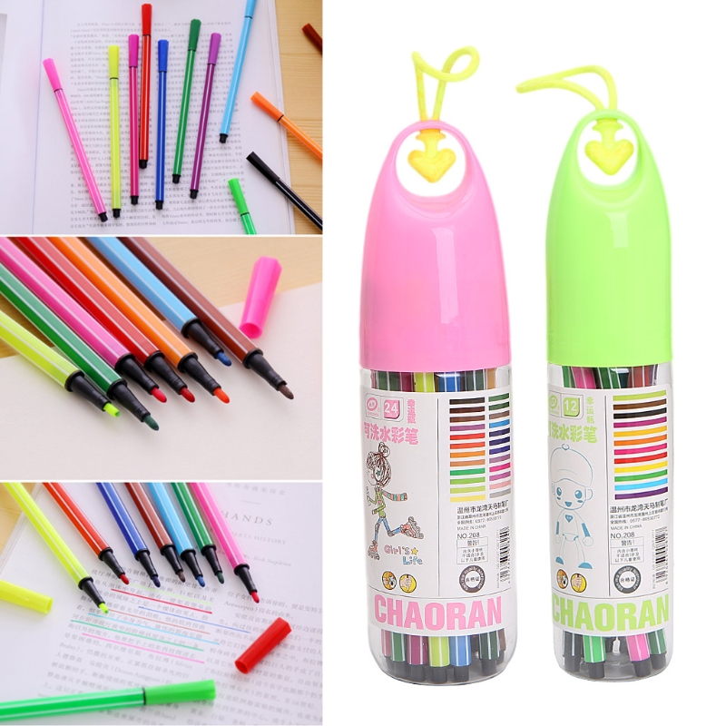 12/24 Colors Box Water Color Pen Set Marker Highlighter For Kids Stationery School Supplies