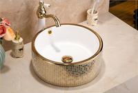 Круглый Ванная комната Lavabo Керамика столешницей умывальника гардероб мозаика Титан фарфоровый сосуд Раковина JY0044