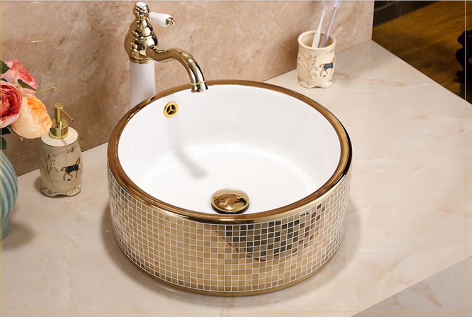 Round Bathroom Lavabo Ceramic Counter Top Wash Basin Cloakroom Mosaic Titanium Porcelain Vessel Sink JY0044