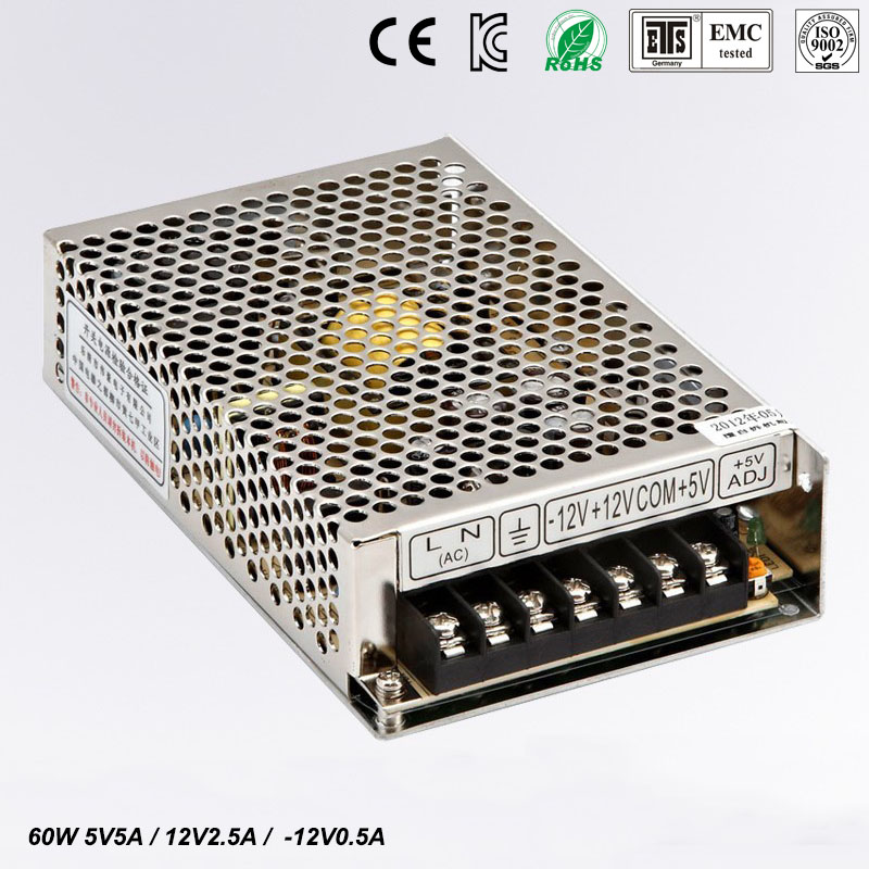 T 60W B Triple output 5V 12V -12V Switching power supply smps AC to DC meanwell 12v 350w ul certificated nes series switching power supply 85 264v ac to 12v dc