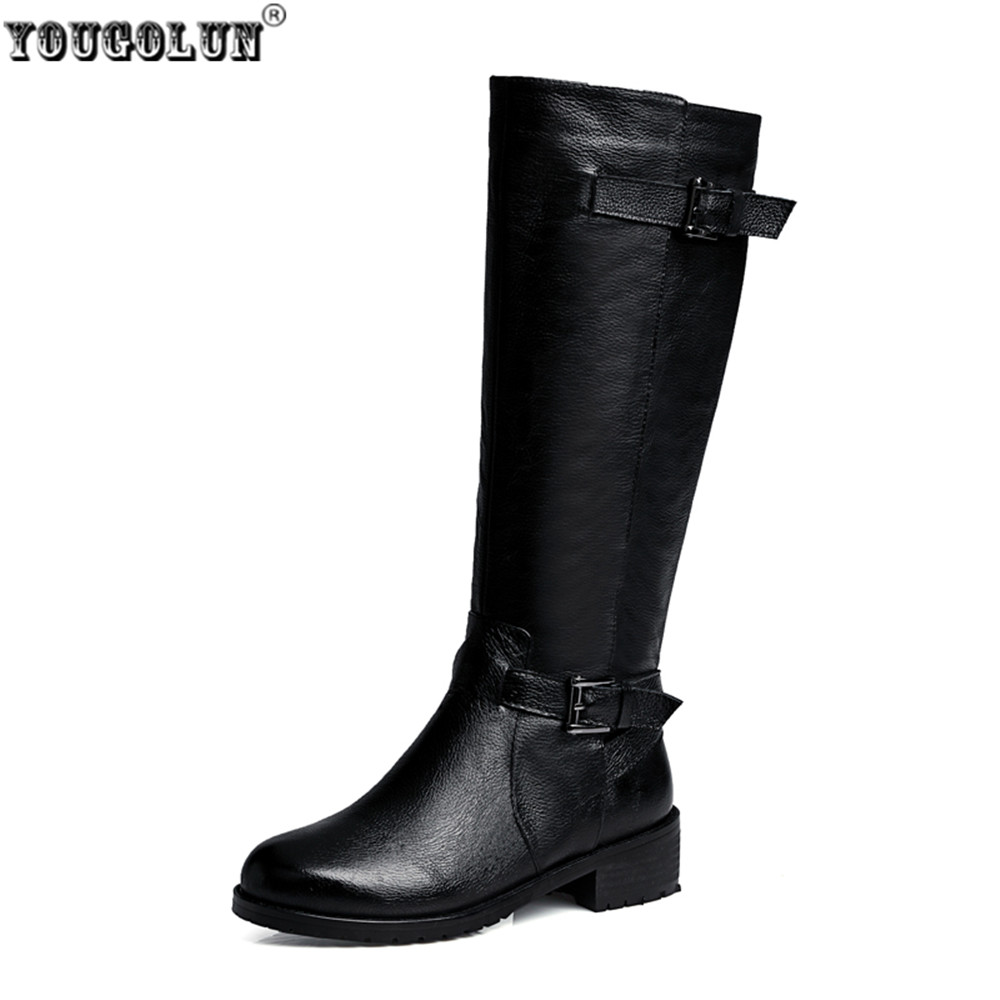 YOUGOLUN women fashion thigh high boots woman buckle winter knee high boots women's genuine leather boots low heels black shoes yougolun woman nubuck winter over the knee snow boots 2018 women thigh high boots ladies square heels thick plush warm shoes