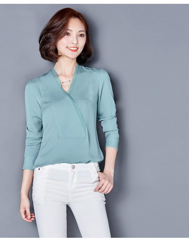 Sky Manches Office Soie Lady De Longues Chemises Réel En À Vêtements Femmes 2018 Blue Tops Mode Automne Nouveau 7naqwpxfz