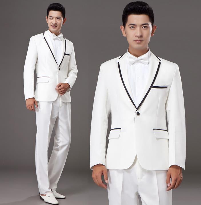 Black grey white khaki married formal dress mens suits wedding groom ...