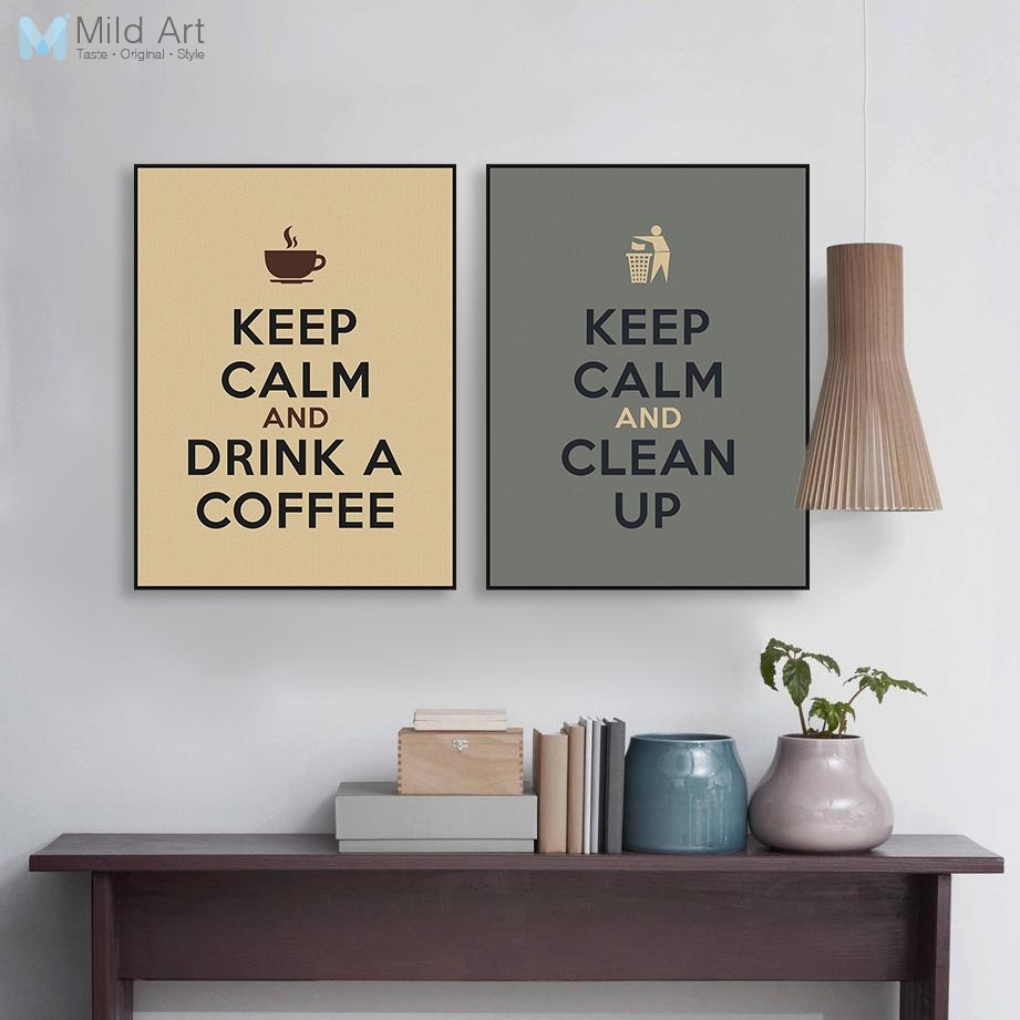 Modern Coffee Keep Calm Life Hippie Quotes Poster Nordic Kitchen Wall Art  Print Picture Cafe Home Decor Canvas Painting No Frame