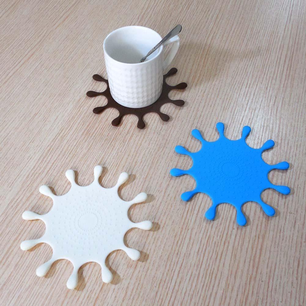 1pcs Minion Silicone Coaster Insulation Mat Hot Sale Creative Cute Cartoon Cup Mat Cute Anime Silicone Coffee Mat drops shape