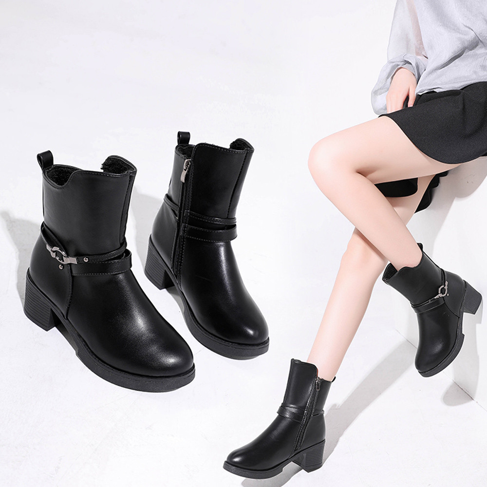 купить Boot Women Wedges Buckle Strap Leather Middle Boots Martin Boots Shoes Ankle Boot Casual Autumn Winter Soft Leather Shoes T# по цене 1198.62 рублей