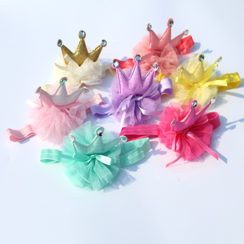 new hot South Korea style baby girl  crown gauze headband child kids gauze taria bow  headdress 10pslot