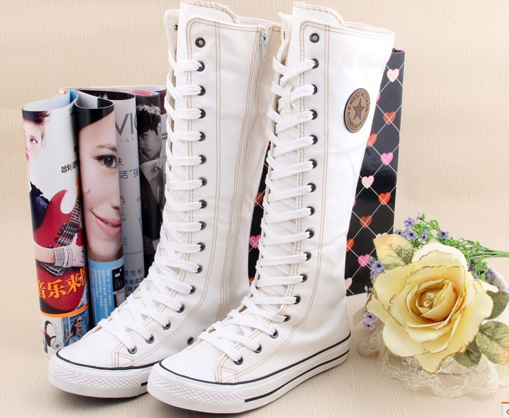 23f5f6d42b8b Gothic EMO Punk Unisex Knee High Canvas Boots Black White Red Lace Up  Zipped Boots Shoes Sneakers Size 5 To 10-in Knee-High Boots from Shoes on  ...