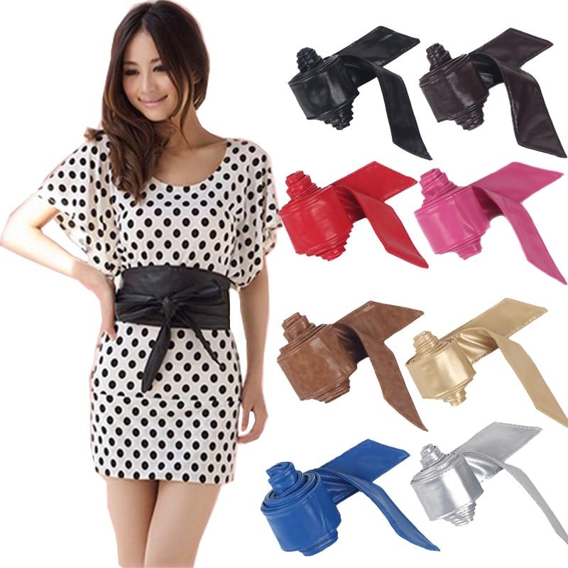 2018 Fashion Women Belt Soft Leather Wide Self Tie Wrap Around Waist Band Dress Cummerbunds