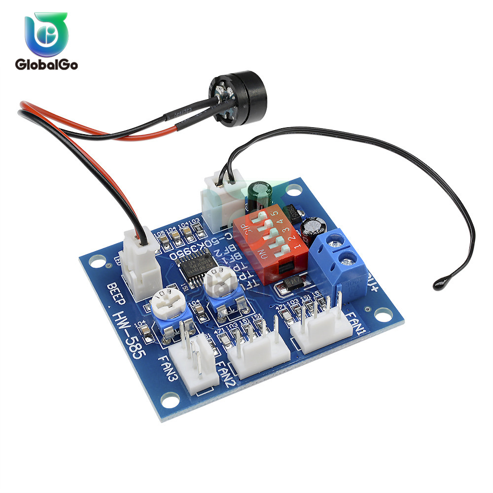 12V Four Wire Temp Temperature Control Switch Module Board PWM Fan Speed Regulator Controller NTC 3950 Thermistor Thermostat