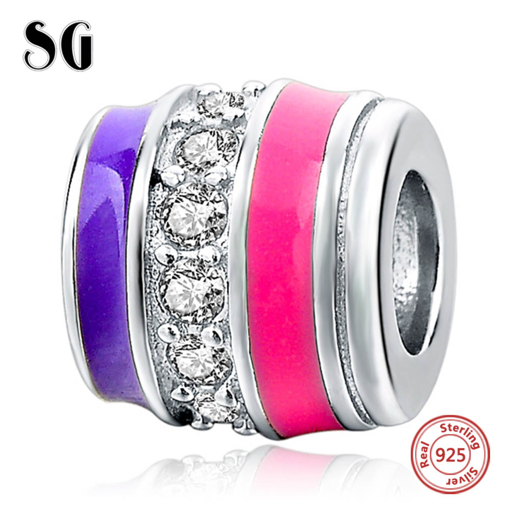 Silver Galaxy Color Cylind with Zirconia Pendant Beads For Women Bracelet Fit Pandora Charms Silver 925 Original Fashion Jewelry