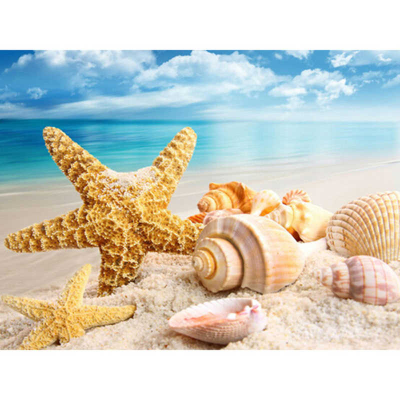 DIY ภาพวาดเพชร Cross Stitch sea Shell ปลาดาว scenery ตกแต่งบ้าน Rhinestone โมเสค 5D เพชรเย็บปักถักร้อย XU