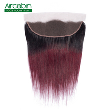 13X4 Lace Frontal Closure Brazilian Straight Hair 100% Human Hair 1B 99J Free Middle Three Part Hair 8-18 Inch Aircabin Non Remy
