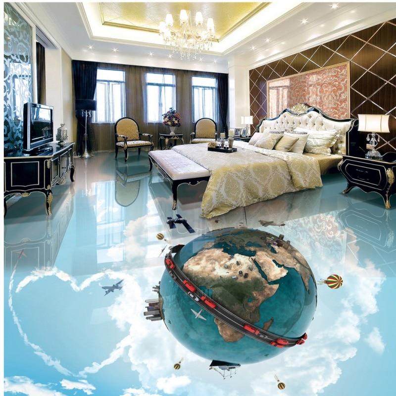 где купить Free shipping custom floor mural anti-skidding thickened living room kitchen mural Romantic Star Bathroom 3D Floor wallpaper по лучшей цене