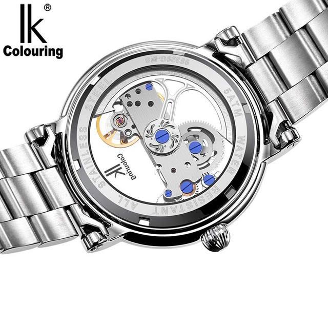 IK Men Automatic Mechanical Watches Top Brand Luxury Stainless Steel Watch Skeleton Transparent Sport male WristWatch
