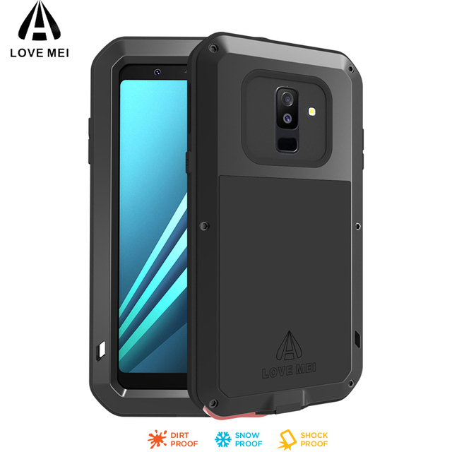 reputable site d81bf 2de3f 2018 A6 Life Waterproof Shockproof Metal Armor Case for Samsung Galaxy A6  Plus 2018 LOVE MEI Water Resistant Cover With Glass