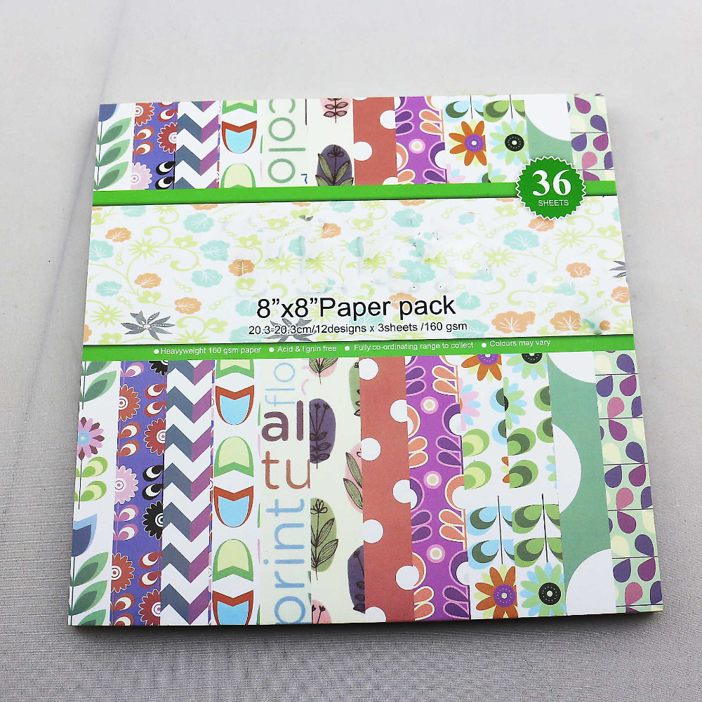 Sping Flower pattern 8inch papercraft sheets of 36pcs Decorative Scrapbooking <font><b>paper</b></font> <font><b>160gsm</b></font> acid-free cute for girl image