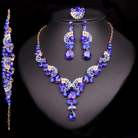 New Fashion Wedding Blue Sapphire Rhinestone Jewelry Set Brides Bridesmaid Or Prom Party Gold Plated Necklace