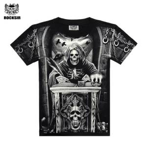 595a01f75cf53 Rocksir skull 3D Printed T shirt Cotton Men Clothes tshirt