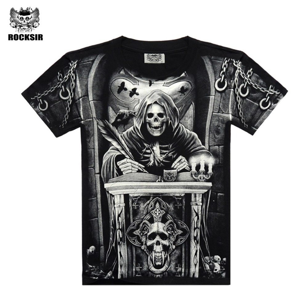 Rocksir 3d skull   t     shirts   Men 2017 HOT SALE Fashion Brand Mens Casual 3D Printed   T     shirt   Cotton Men Clothes tshirt plus size