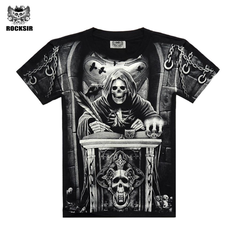 Rocksir 3D-skalle t-shirts Män 2017 HOT-försäljning Mode Märke Herr Casual 3D-tryckt T-shirt Bomull Herrkläder t-shirt plus storlek