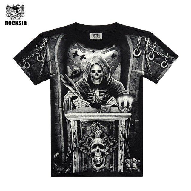 Rocksir 3d Skull T Shirts Men 2017 Hot Sale Fashion Brand