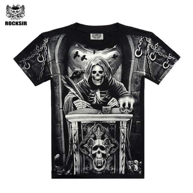 3ae6d85d9bc Online Shop Rocksir 3d skull t shirts Men 2017 HOT SALE Fashion Brand Mens  Casual 3D Printed T shirt Cotton Men Clothes tshirt plus size
