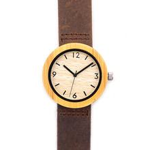 Round Quartz Bamboo Wood Watch For Women With Genuine Leather Straps With Gift Box  For Christmas
