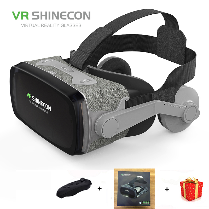 Casque Headset Vr Shinecon Box Gerceklik Virtual Reality Glasses 3D Helmet Goggles 3 D Google Cardboard For Phone Smartphone Len hot 2018 original shinecon vr google cardboard vr box with headphone vr virtual reality 3d glasses for 4 7 6 0 inch phone