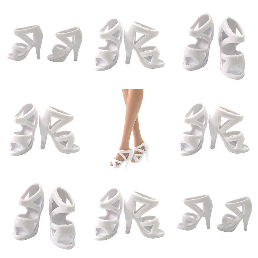 NK 10 Pairs/Set Doll White Shoes Cute Heels Fashion  Sandals For Barbie Doll  Accessories High Quality Baby Toy  Wholesale