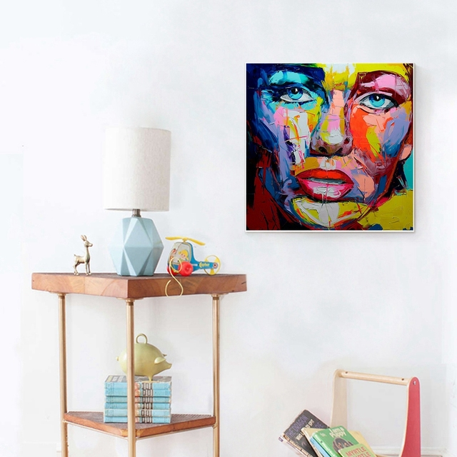 Handmade Oil Canvas Painting Multicolor Women Face Abstract Wall Art Canvas Artwork Picture for Hotel Home Wall Art Dropshipping