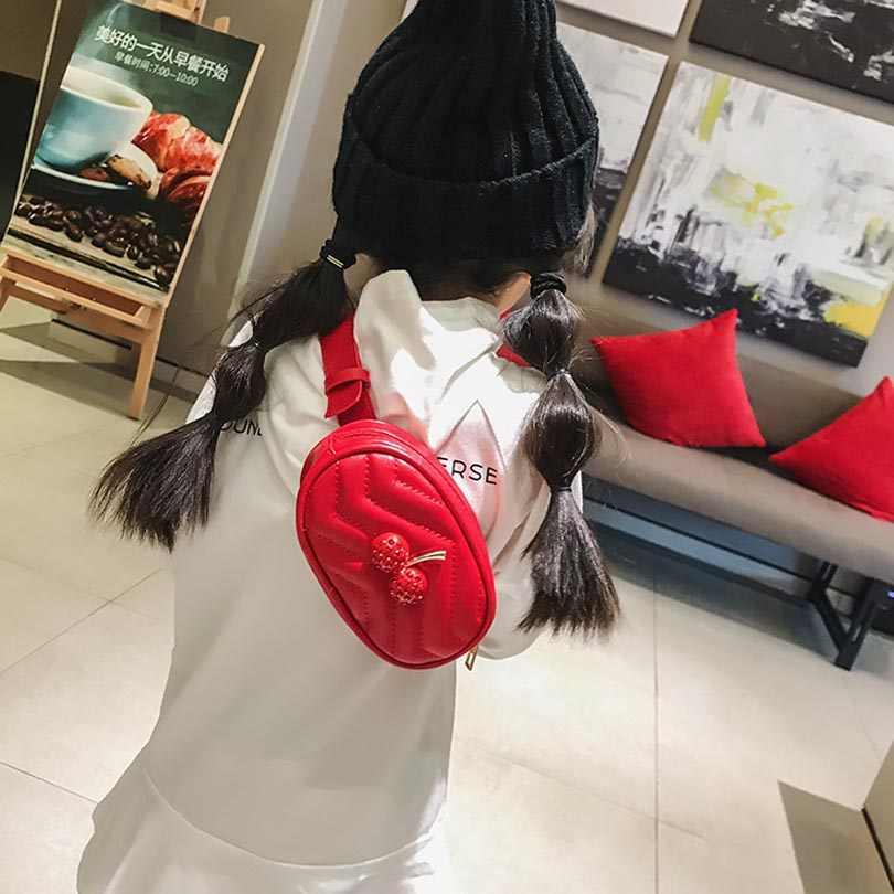Nouveau sac de taille cerise enfants Plaid PU cuir ceinture sac de mode marque taille Pack voyage ceinture portefeuilles Fanny sacs filles poitrine Packs