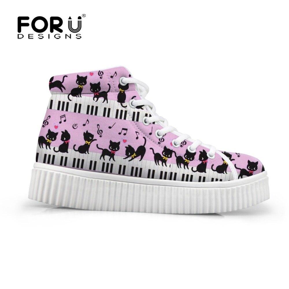 FORUDESIGNS automne haute hauteur augmentant la chaussure chat avec Piano Note de musique femmes décontractée chaussures plates plate-forme Creepers chaussures