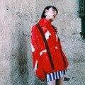Bt003 оригинальный дизайн 2016 старинные кран отпечатано шелк смесь бейсбол куртка японский стиль сверхразмерной весна куртка женщин пальто
