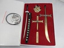 אנימה חתיכה אחת זורו סכין אבזם עם נדן חרב נשק Keychain את שרשרת סיכה עבור חג המולד אבזרים