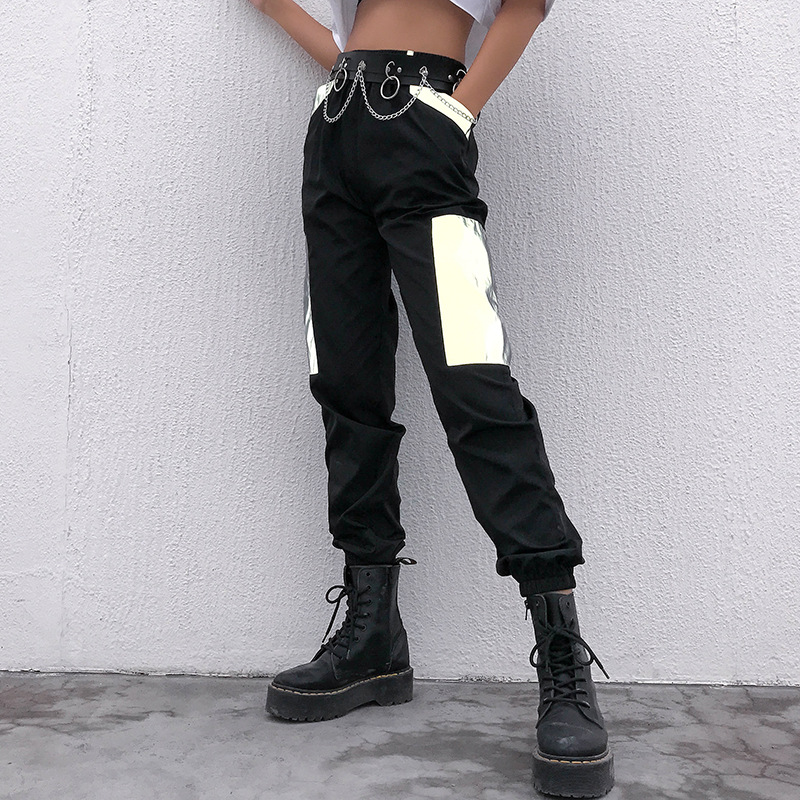 Harajuku Patchwork Reflective   Pants     Capris   Hip Hop High Waist Streetwear Joggers Ladies Trousers Casual Black Baggy   Pants