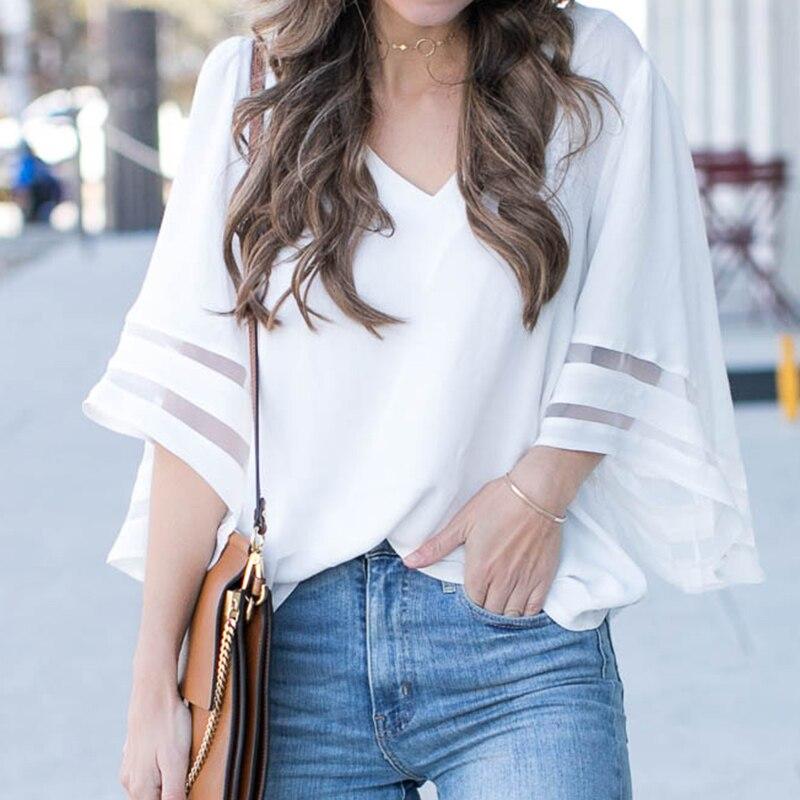 Women 3/4 Flare Sleeve Chiffon Blouse Summer Autumn V Neck Loose Tops Mesh Stitching Tunic Shirt Plus Size 1