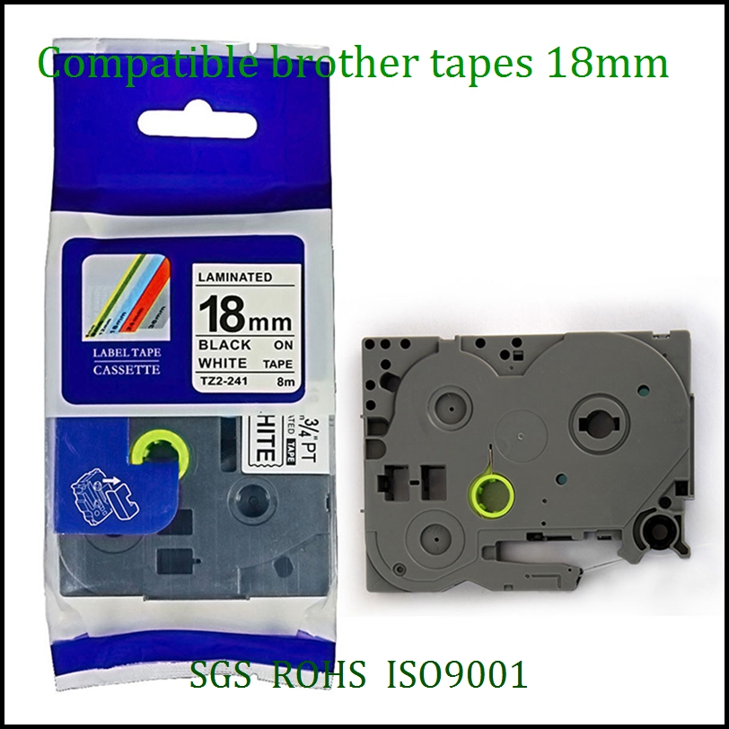 10pc lot Compatible brother label tape tz tape 18mm Tze241 tz241 tze 241 Tze 241 tze641