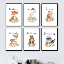 Cartoon Deer Fox Bear Rabbit Owl Raccoon Nursery Wall Art Canvas Painting Nordic Posters And Prints Pictures Baby Kids Room
