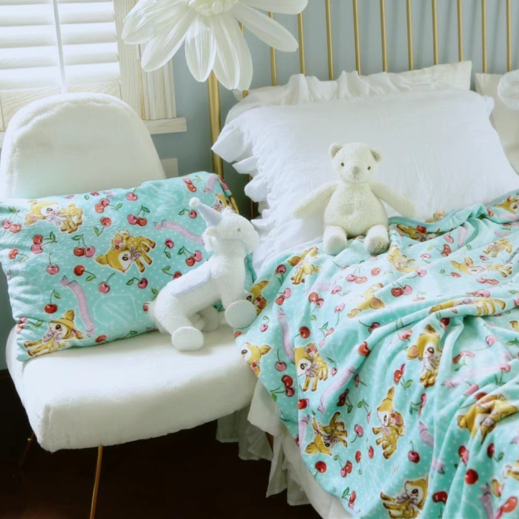Cartoon Cherry Deer Plush Toys Soft Pillowcase Air Condition Blanket Creative Birthday Christmas Gift #1041