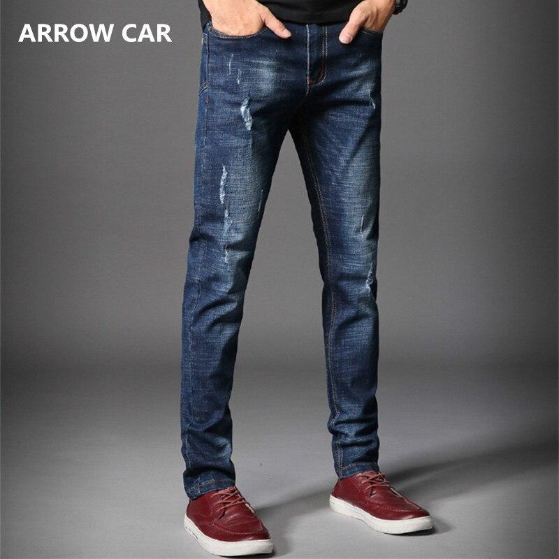 Jeans hommes pantalons 2018 printemps été nouveau trou jeune Version coréenne de la tendance des Jeans Slim Jeans pantalons hommes Jeans pantalons