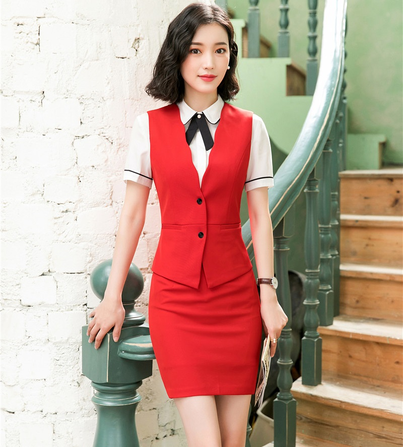 Fashion Red Formal Business Suits 2 Piece Sets With Tops And Skirt For Ladies Office Vest & Waistcoat OL Styles Female Blazers