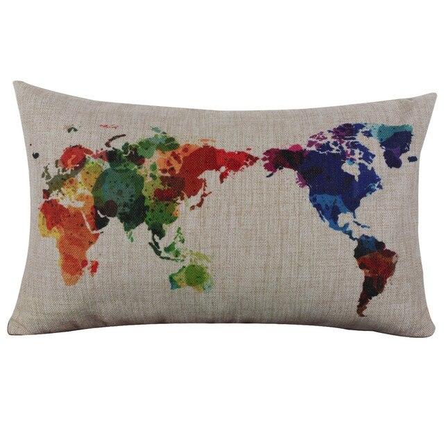 Разноцветный чехол для подушки с изображением карты мира, 30 см x 50 см, высококачественный льняной диван, наволочка для подушки, украшение для дома
