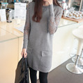 2016 new autumn and winter lace sleeve pocket long sweater dress women