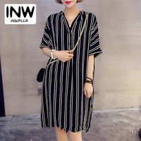 Summer Shirt Dress Women S Black And White Stripe Dresses Casual Large Size Vestidos Female Camisas